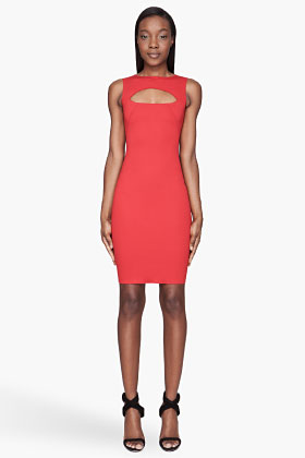 Dsquared2 Red Cut-out Fitted Scuba Dress for women | SSENSE