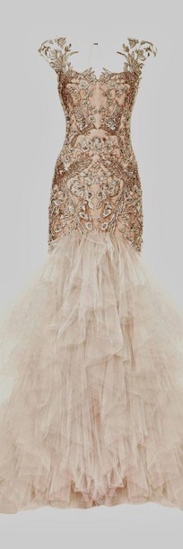 dress prom dress mermaid prom dress long prom dress beige dress jewels vintage wedding dress