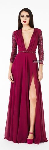 dress,deep v,plunge neckline,wine red,burgundy,long sleeves,gown,fomal
