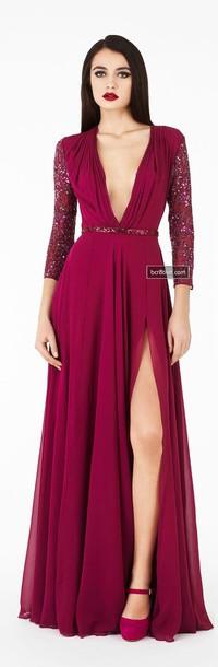 dress deep v plunge neckline wine red burgundy long sleeves gown fomal