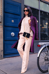 viva luxury,blogger,pants,winter sweater,purple,wide-leg pants,yves saint laurent