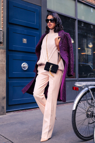 viva luxury blogger pants winter sweater purple wide-leg pants yves saint laurent