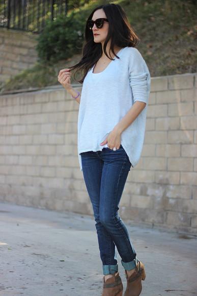 frankie hearts fashion blogger sunglasses jeans casual