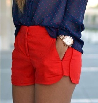 shorts red shorts cute shorts summer outfits style fashion