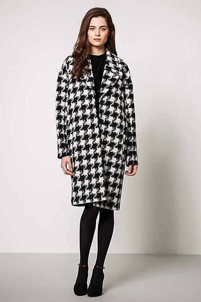 Selected Femme Houndstooth Cocoon Coat - anthropologie.eu