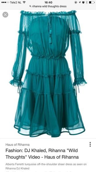 dress teal long sleeve dress