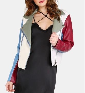jacket girl girly girly wishlist biker jacket colorful dope dope wishlist leather jacket green white blue red zip zip up jacket button