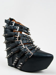 New JEFFREY CAMPBELL ZIP 2 STUD Women Black Platform Strappy Buckle Spike Wedge