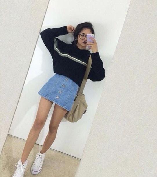sweater blue stripes striped sweater art hoe denim skirt