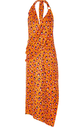 dress print silk orange bright