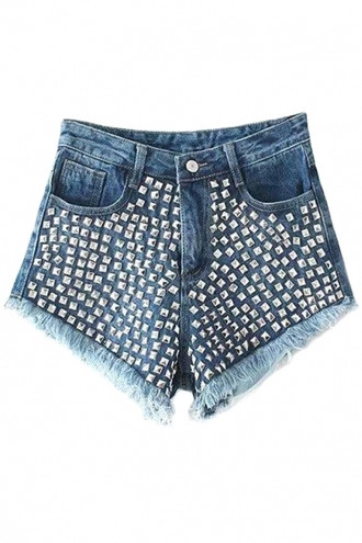 shorts sexy shorts hot shorts middle-waist denim shorts rivet