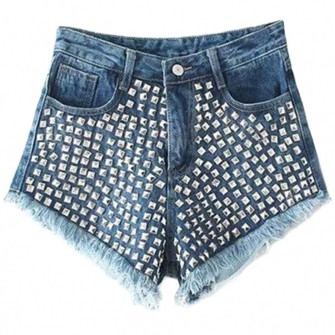 shorts middle-waist sexy shorts hot shorts denim shorts rivet the middle