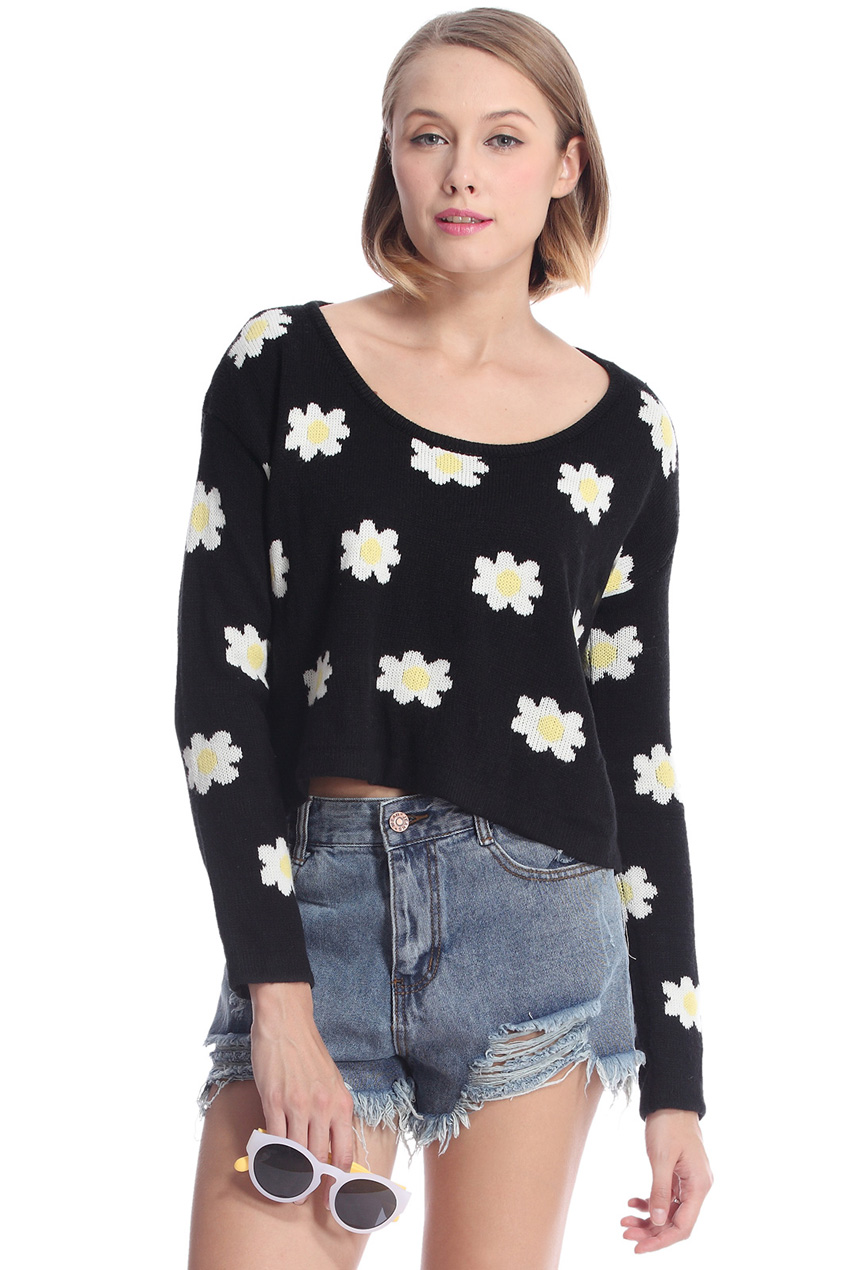 ROMWE | Daisy Print Black Knitted Jumper, The Latest Street Fashion