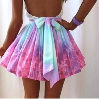 skirt ombre gradient gradient pink galaxy print pastel galaxy paste pastel color pastel skirt sweet blue pastel blue bow ribbon ribbon skirt dye