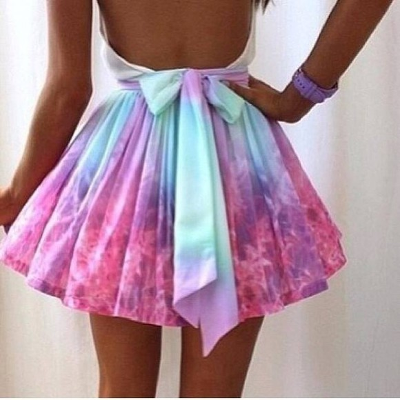 blue dye skirt ombre gradient gradient pink galaxy pastel galaxy paste pastel color pastel skirt sweet pastel blue bows ribbon ribbon skirt