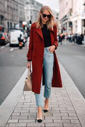 fashionjackson,blogger,coat,top,jeans,shoes,bag,sunglasses,fall outfits,red coat,chanel shoes,handbag,trench coat,double breasted,high waisted jeans,pumps,black blouse