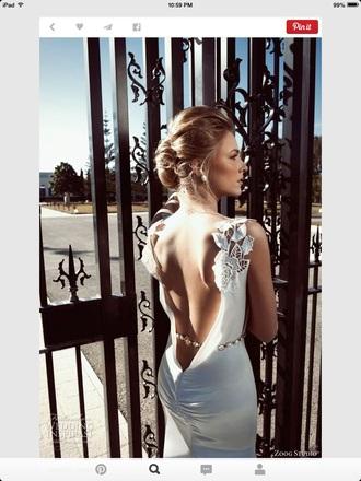 backless dress white dress wedding dress