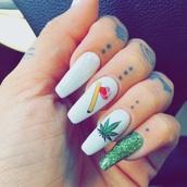 nail polish,nail charm,nails,metallic nails,acrylic nails,weed,weed nails,nail accessories,nail art,stiletto nails,nail decal
