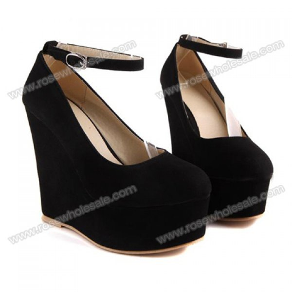 Wholesale Laconic Party Women's Wedge Shoes With Solid Color Suede and Platform Design (BLACK,39), Wedges - Rosewholesale.com