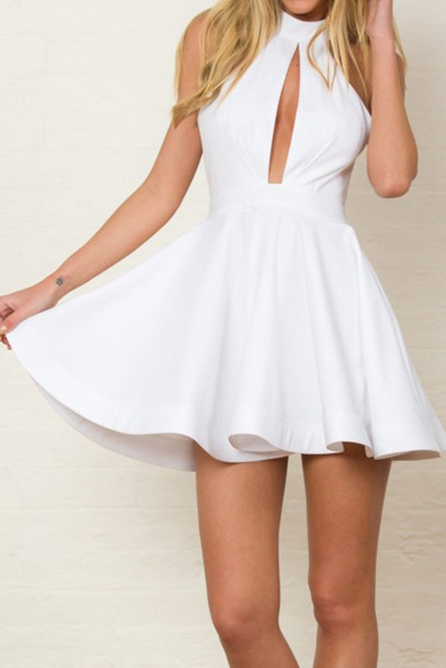 379547a7cc15 dress white white dress high neck halter neck dolly skater dress summer  zaful girly halter top