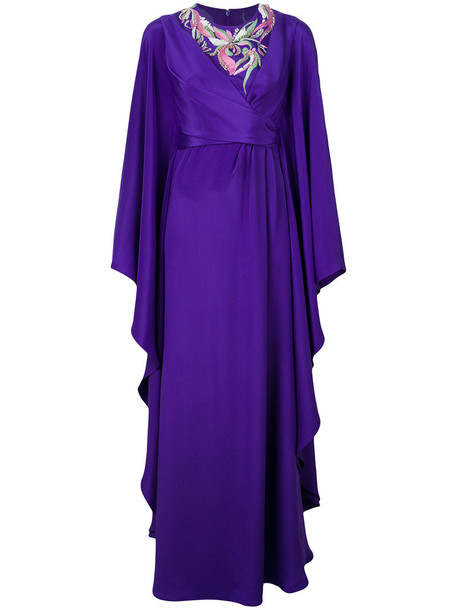 gown embroidered ruffle women silk purple pink dress