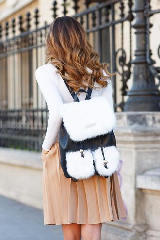 bag tumblr backpack black and white fur top white top skirt mini skirt nude skirt pleated pleated skirt