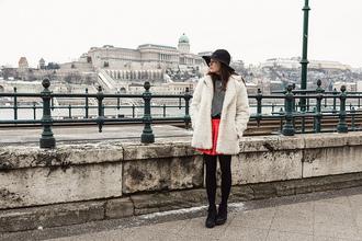 iemmafashion blogger hat red skirt fuzzy coat striped sweater