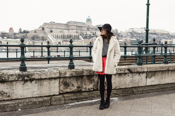 iemmafashion blogger hat red skirt fuzzy coat striped sweater coat sweater shoes skirt jewels tights