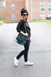 poor little it girl,blogger,jeans,jacket,converse,pom pom beanie,leather jacket,leather bag,shoes,top,hat,bag