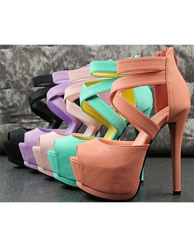 Cute glam high heels gladiator sexy 14 cm green grass blue platform