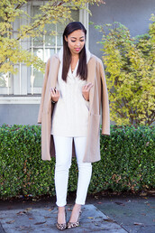 pancake stacker,blogger,camel coat,knitted sweater,cropped pants,white jeans,leopard print high heels,shoes