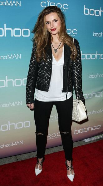 jacket purse pumps bella thorne biker jacket necklace spring outfits black jeans