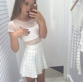 pattern,skirt,white,pale,top,dress,grid,white dress,transparent,pastel goth,white t-shirt,white top,white crop tops,white shirt,grunge,aesthetic,aesthetic tumblr,aestetics,pale aesthetic,plaid