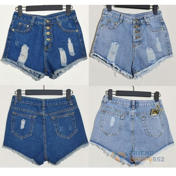 Fashion Women Vintage Denim High Waist Blue Jean Shorts Hot Pants s M L F8S | eBay
