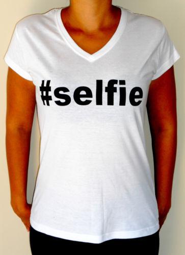 Instagram Selfie Selfie Hashtag Lingo Women's Fashion V Neck T Shirt White | eBay