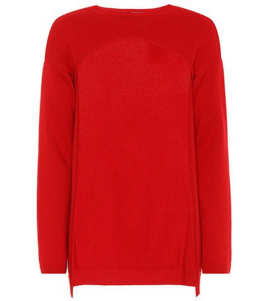 Valentino Cropped cashmere sweater in red