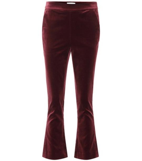 Frame Slit cropped velvet pants in purple