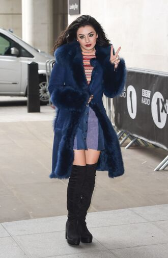 skirt charli xcx celebrity singer blue skirt button up skirt mini skirt top striped top coat blue coat winter coat boots black boots over the knee boots high heels boots winter outfits