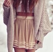 sweater,oversized cardigan,knitted sweater,cardigan,skirt,tank top,flowy skirt,knitted cardigan,oversized sweater,beige skirt,jacket,big,beige,blouse,cream coloured cardigan