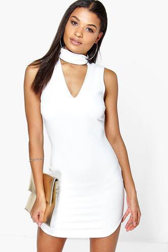 dress bodycon dress white dress short dress boohoo dress