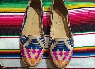 folk shoes pink blue colorful
