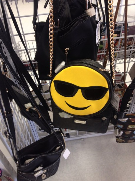 bag emoji print sunglasses yellow black dress