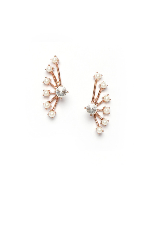 ELIZA ROSE GOLD PEARL EAR JACKET | Rue Gembon