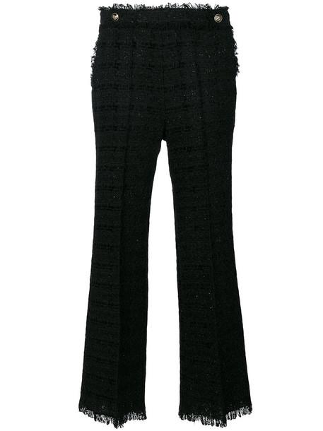 MSGM women cotton black wool knit pants