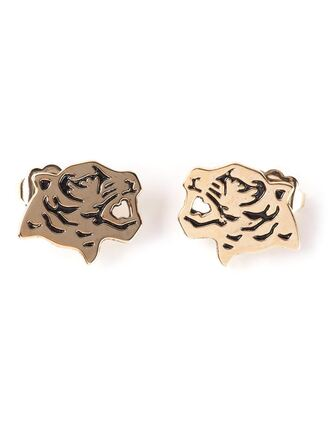 jewels animal tiger earrings gold earrings gold jewelry 90s style