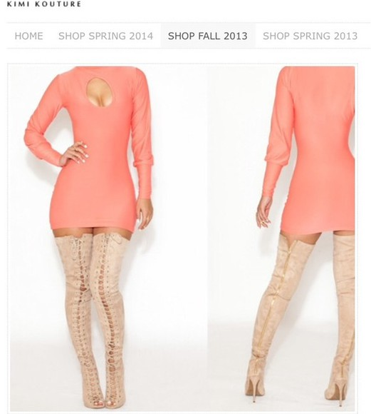 shoes coral thigh high boots lace up