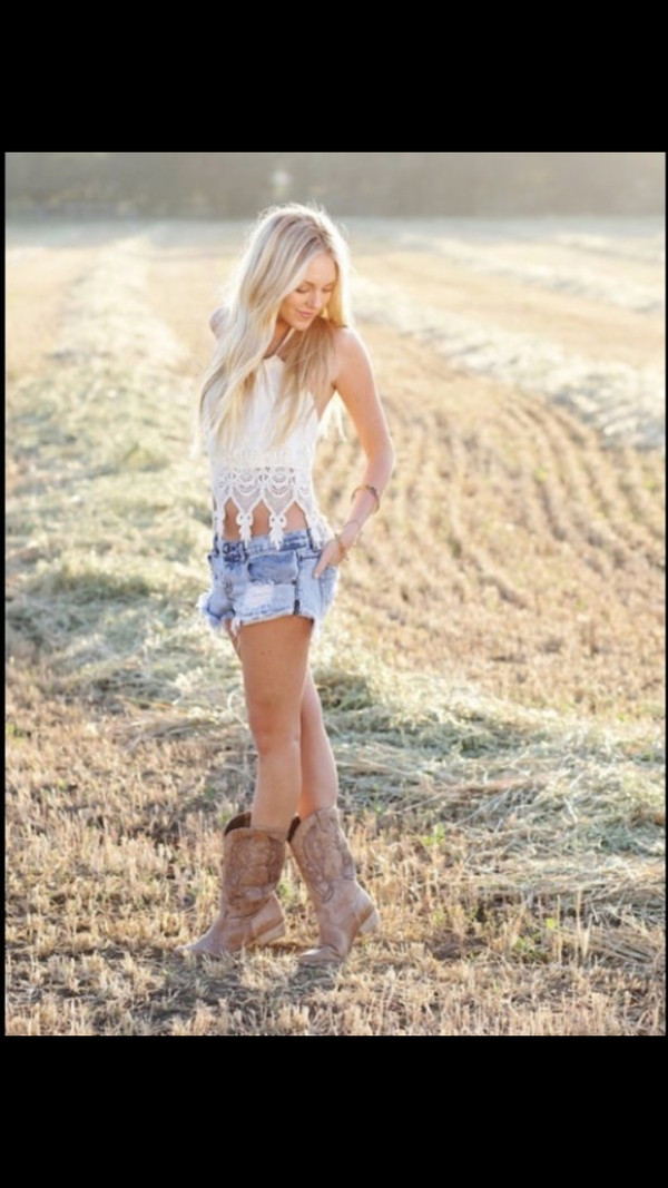 shirt white lace tank top beige crochet white lace up top top lace lace top country style country look country ankle boots cowgirl boots denim shorts shoes cowboy boots shorts tanks top blouse