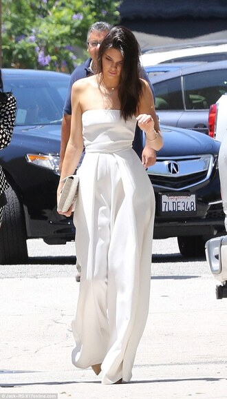pants jumpsuit kendall jenner strapless summer summer outfits white necklace jewels clutch bag celebrities in white