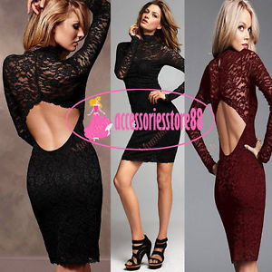 Womens Love Red Lace Cut Out Backless Cocktail Bodycon Party Club Stretch Dress | eBay