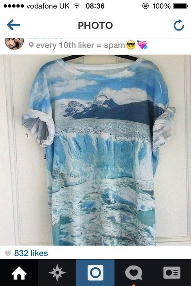 print t-shirt blue shirt blue mountains printed tshirt colorful ice ocean water sea sea of shoes coat lovely pepa blue dress